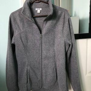 dark grey fleece zip up jacket
